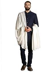 Pashtush Mens Super Fine Ring Shawl, Pashmina Beige Colour, Mens Lohi (full size 54x108 inches) (Cream White)