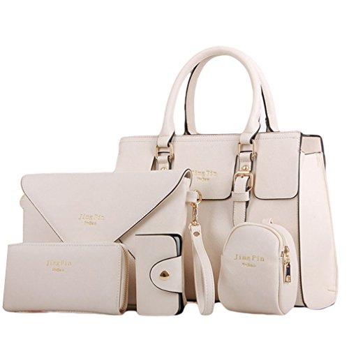 HENGSONG Damen Elegant PU Leder Handtasche Set Taschen Tote Schultertasche Umhängetasche Geldbeutel 5pcs Beutel (Beige)