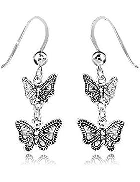 MATERIA Kinder Ohrhänger Schmetterling 925 Sterling silber hängend antik #SO-124