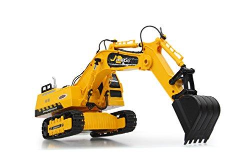 Jamara 404920 - Bagger J-Matic 1:27 2,4GHz - Realistischer Motorsound, Hupe, Rückfahrwarnsound, 660 ° Turmdrehung, programmierbare Funktionen mit Wiederholung, Autoabschaltfunktion,Entladen / Aufladen - 10