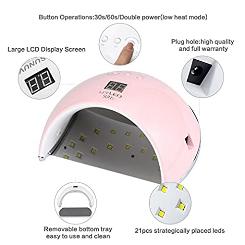 Bluestercool 48W LED UV Nail Lampe LED Nail Lumière Séchoir à ongles (Rose)
