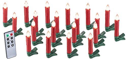 Lunartec 20er-Set LED-Weihnachtsbaum-Kerzen mit IR-Fernbedienung, rot