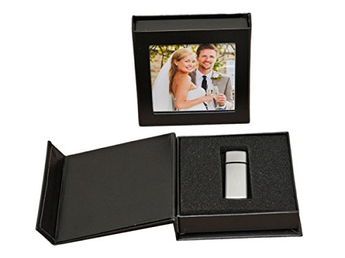 USB-Box mit Bildfenster. Kunstleder Schwarz. Ohne USB-Stick