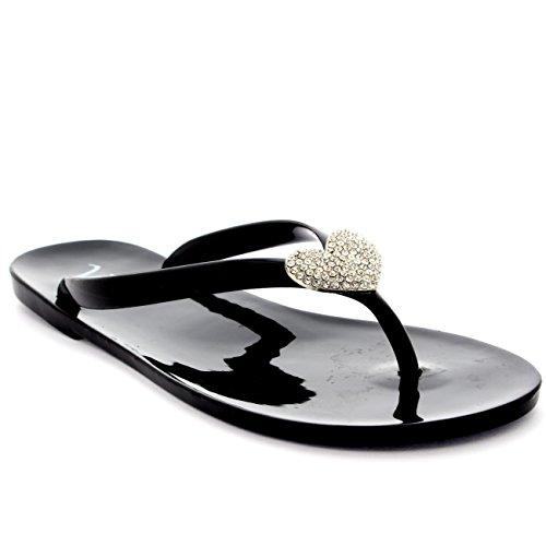 Donna Estate Vacanza Diamante Cuore Gelatina Spiaggia Infradito Sandali - Nero - 37