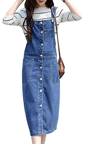 Scothen Damen Jeansskirt Jeansrock Minirock Latzrock Rock Jeans Trägerrock Denim Frauen Damen Mädchen Jeansrock Stretch Kleid Langer Jeansrock Denim Damenrock kniebedeckt Rock Knielang A-Line
