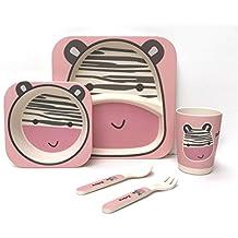 Los niños de 5piezas Bamboo Dinner set–100% de fibra de bambú, respetuoso con el medio ambiente, se puede lavar en lavavajillas (cebra)