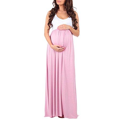 Amphia Kleider Damen Schwanger Frau Spitze Lange Maxi Kleid Mutterschaft Kleid Fotografie Requisiten Kleider Umstandskleid (Rosa, L) (Cocktail-kleid Mutterschaft)