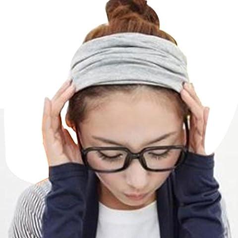 Hair Accessories, Kolylong® Accessoire Cheveux Complet Vintage Large Ruban Bandeau Cheveux Bande Bandanas Echarpe Nouveau Parti Mode (Gris)