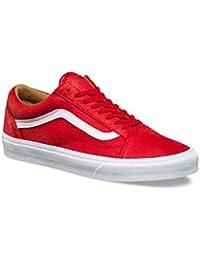 Vans Old Skool - (premium Leather) Racing Red/true White - 4