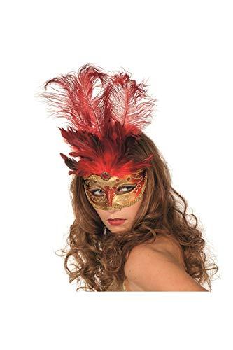 Jannes 34350 Venezianische Maske mit Langer Feder Venezianischer Karneval Venedig Einheitsgröße Rot
