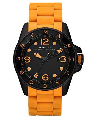 Marc Jacobs MBM2587 Women's Men's Unisex Diver Orange Silicone Band Black Dial Watch