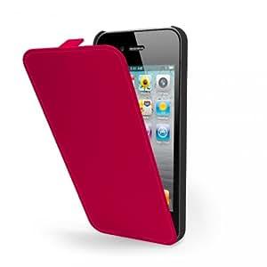 Etui à rabat Muvit iFlip Rouge Glossy + film protecteur effet miroir _ iPhone 5 pour le Apple iPhone 5