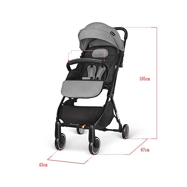 Ydq Foldable Baby Pushchair,Lightweight Baby Pram Pushchair Buggy Travel Stroller Plume Ydq TRAVEL ANYWHERE - Airplane travel stroller designed for airplane overhead compartment. It's super compact when folded. With extendable pull rod, it could be dragged anywhere you go with no effort instead of lifting it with your hand. COMFORTABLE SEAT - Lightweight pushchair with reclining backrest enables your baby to rest better in the well-padded seat. The pads on the headrest will help keep your baby's head in position even if it's asleep. The angle of legs support could also be adjusted, providing the most joyful ride for your baby. EASY USAGE - One-hand foldable buggy makes taking your baby for travels or walks a simple pleasure. It could stand on its own so you could take care of your baby with less things to worry about. 6