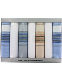 Men's Handkerchiefs Box Of 7 Multi-Coloured Border (HH100) 100% Cotton Handkerchiefs by Handkerchief Heaven