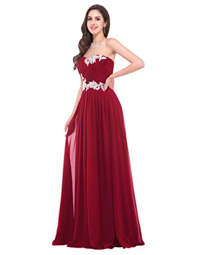 GRACE KARIN Damen Abendkleider Lange Herzform Chiffon Prom Dress in Mehreren Farben Weinrot