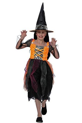 Hexenkostüm schwarz für Mädchen | Größe 152 | 2-teiliges Hexe Kostüm mit Hut | Böse Magierin Faschingskostüm für Kinder | Zauberin (Ideen Halloween Böse Fee Kostüm)