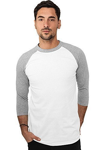 Urban Classics Herren Shirt 3/4-Arm Contrast white/grey M (T-shirt-shorts 3/4 Sleeve)