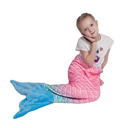 softan Meerjungfrau Decke für Mädchen Kinder, Warme Flauschige Weiche Flanell Fleece-Decke, All-Saison-Schlafdecke, Mädchen, 43cm x 99cm