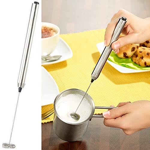Rosenstein & Söhne Milchschäumer: Milchaufschäumer-Stick mit Edelstahl-Gehäuse, Spiralquirl mit Ø 24 mm (Milchquirl)