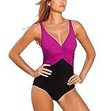 GWELL Frauen Vintage Elegant Plus Size Einteiler Push up V-Schnitt Badeanzug Schwimmanzug Mehrfärbig Bademode lila 2XL
