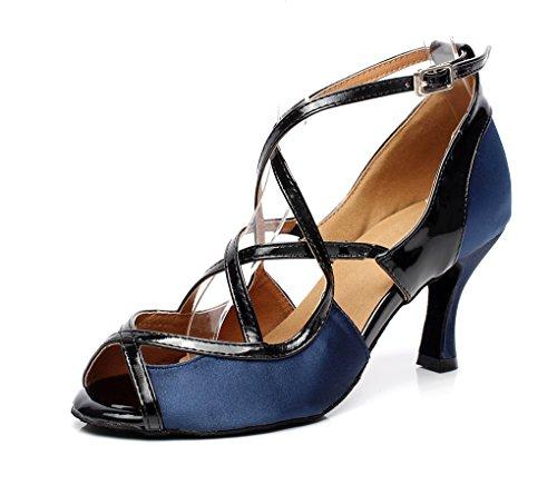 MINITOO qj6180Damen 7,6cm Ferse Satin Ballsaal Latin Dance Sandalen, Blau - blau - Größe: 40