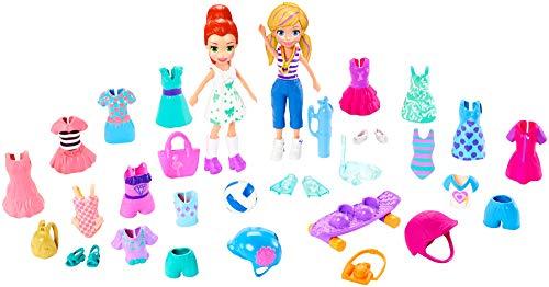 Polly Pocket GDM18 - Super-Sportsfreunde Geschenkset mit 2 Puppen und vielen Outfits und Accessoires