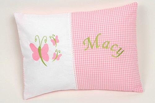 Kissen Petite mit Schmetterling und Namen inklusiv, Namenskissen, Mini Kissen, mit Inlet,ca.30x40 cm -