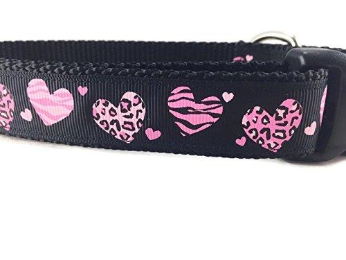 Hundehalsband, Valentine, Schwarz, caninedesign, Herz, 2,5cm breit, verstellbar, Nylon, Medium und große (Animal Print, große 38,1-55,9cm) (Hundehalsband Leopard)