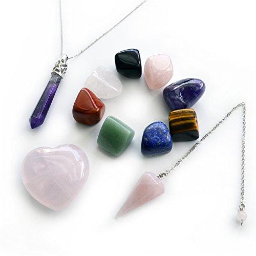 Paquete de 4Productos: 8-pcs Tumbled cristal curación chakra piedras, 1-PCS cuarzo rosa corazón, 1-PCS cuarzo rosa péndulo, y 1-PCS Pointed & Amatista Facetado Collar colgante