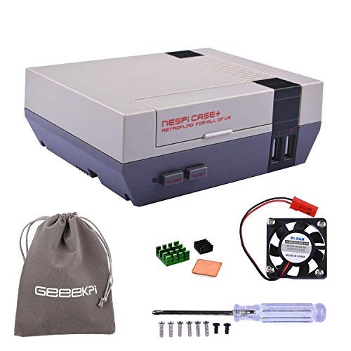 GeeekPi Retroflag NESPi Case + Plus Cooling fan and hindfoot Flannel Bag Raspberry Pi 3/2 Modelo B y Raspberry Pi 3B + (NESPI Case +)