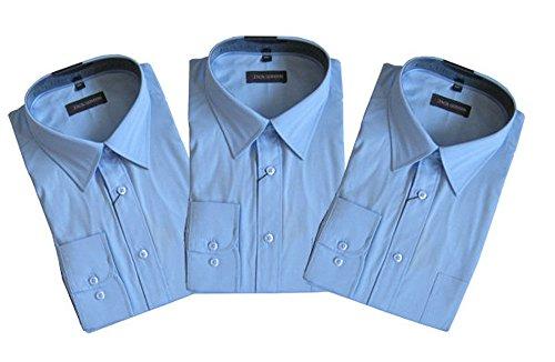 Jack Gorden 3er Pack Hemden Langarm 7216 auch Übergrößen Hellblau/Hellblau/Hellblau