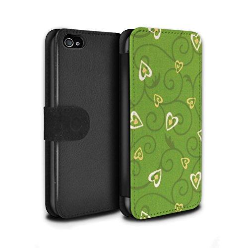 Stuff4 Coque/Etui/Housse Cuir PU Case/Cover pour Apple iPhone 4/4S / Rouge/Rose Design / Coeur Vigne Motif Collection Jaune/Vert