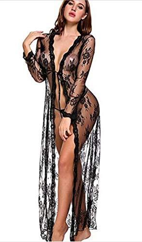 WODETIAN Unterwäsche Frauen Sexy Lange Seide Kimono Morgenmantel Babydoll Dessous Bath Robe,Black,M