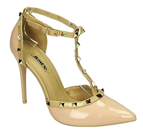 King Of Shoes Elegante Damen Riemchen Abend Sandaletten High Heels Pumps Lack Stilettos Schuhe GH (41, Pink)