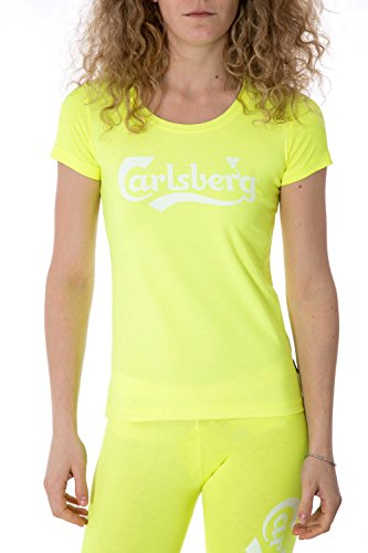 carlsberg-t-shirt-donna-stampata-regular-fit-cbd2162-s-giallo-fluo