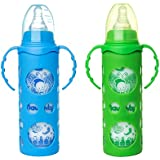NAUGHTY KIDZ PREMIUM BOROSILICATE HANDY GLASS BOTTLE WITH ULTRASOFT LSR NIPPLE||SILICONE BOTTLE WARMER||EASY TO HOLD HANDLE||KEY TEETHER||HOOD RETAINING CAP AND SEALING DISC RING -250ML+250ML (BLUE+GREEN)