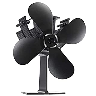 Albrillo Stromloser Ventilator für Kamin - Umweltfreundlich Ofenventilator mit 4 Rotorblätter und Tragbar Griff für Holzöfen, Schwarz und Kein Lärm