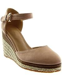 Angkorly Chaussure Mode Sandale Espadrille Lanière Cheville Plateforme Femme Corde Tréssé Lanière Talon Compensé Plateforme 9 cm