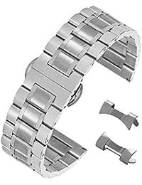 20 millimetri resistente braccialetto solido cinturino in acciaio inossidabile, con facile fibbia di distribuzione di rilascio in argento