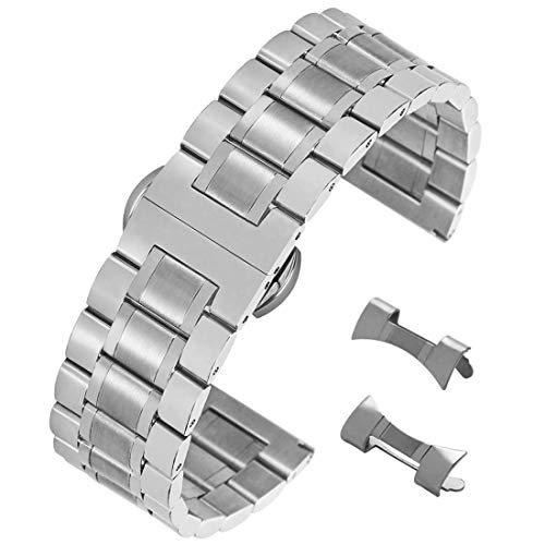 22mm sólido Correa Reloj SS Plata Ajustable Acero