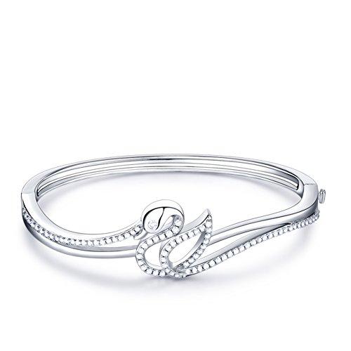 925 Silver bracelet plaqué platine/Version japonaise et coréenne de simple bracelet cygne/ cadeaux d'anniversaire A