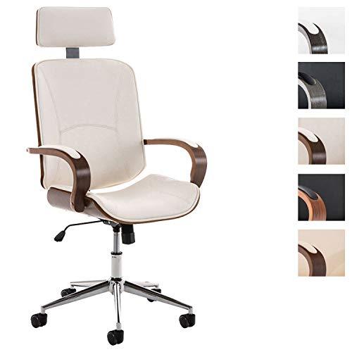 CLP Chefsessel Dayton mit Kunstlederbezug I Bürostuhl mit Kopfstütze und Leichtlaufrollen I Höhenverstellbarer Schreibtischstuhl walnuss/weiß -