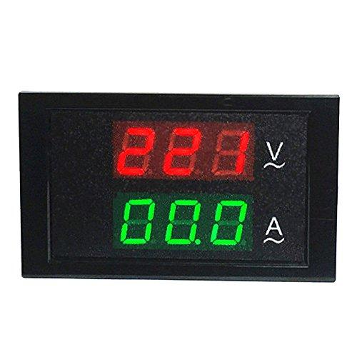 uniquegoods AC80-300V / AC200-450V 50A / 100A / 200A LCD-Digital-Voltmeter Amperemeter Current Meter Ampere-Panel Spur Rot Grün Dual Display Spule Stromwandler CT (AC 80-300V 200A)