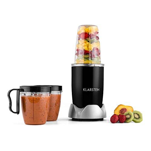 Klarstein NutriRocket frullatore smoothie maker con bicchieri e due lame intercambiabili per frullare, tritare sbattere e montare (700W,  3 bicchieri da 1000ml e 600ml) - nero