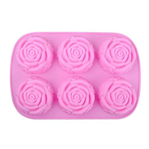 Cupcinu 6 Hohlraum Rosen Kuchen Form Fondant Silikon Form DIY Gummi Süßigkeits Schokoladen Form Pudding Form, 25 * 16.5 * 3CM