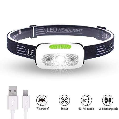 Karrong Stirnlampe LED USB Wiederaufladbare, Sensor Kopflampe IPX6 Wasserdicht Super hell, Mini Leicht Stirnlampen Kopfleuchte, 5 Modi Perfekt fürs Outdoor Kinder Sport Joggen Laufen Angeln