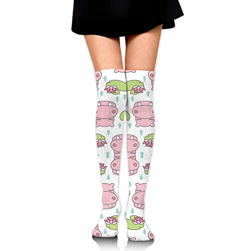 DGHKH Pink Hippos and Water Lilies Knee High Graduated Compression Socks for Unisex - Best Medical, Nursing, Travel & Flight Socks - Running & Fitness -