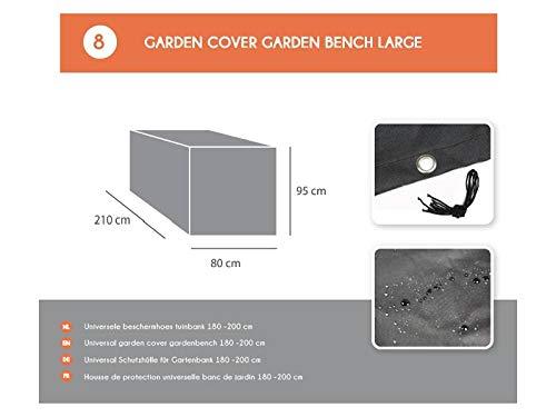 MaximaVida Schwarze Schutzhülle für Gartenbank 180 cm bis 200 cm - 600 Gramm schwere Ausführung