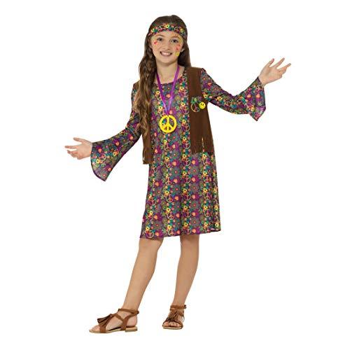 Amakando Cooles Flower Power Kleid für Kinder / Größe L, 10 - 12 Jahre, 145 - 158 cm / Mädchen-Kostüm Woodstock / EIN Highlight zu 60er-Party & - Flower Power Girl Kostüm