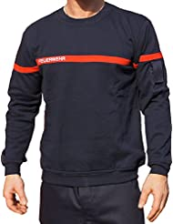 Sweat-shirt motif pompier bande rouge